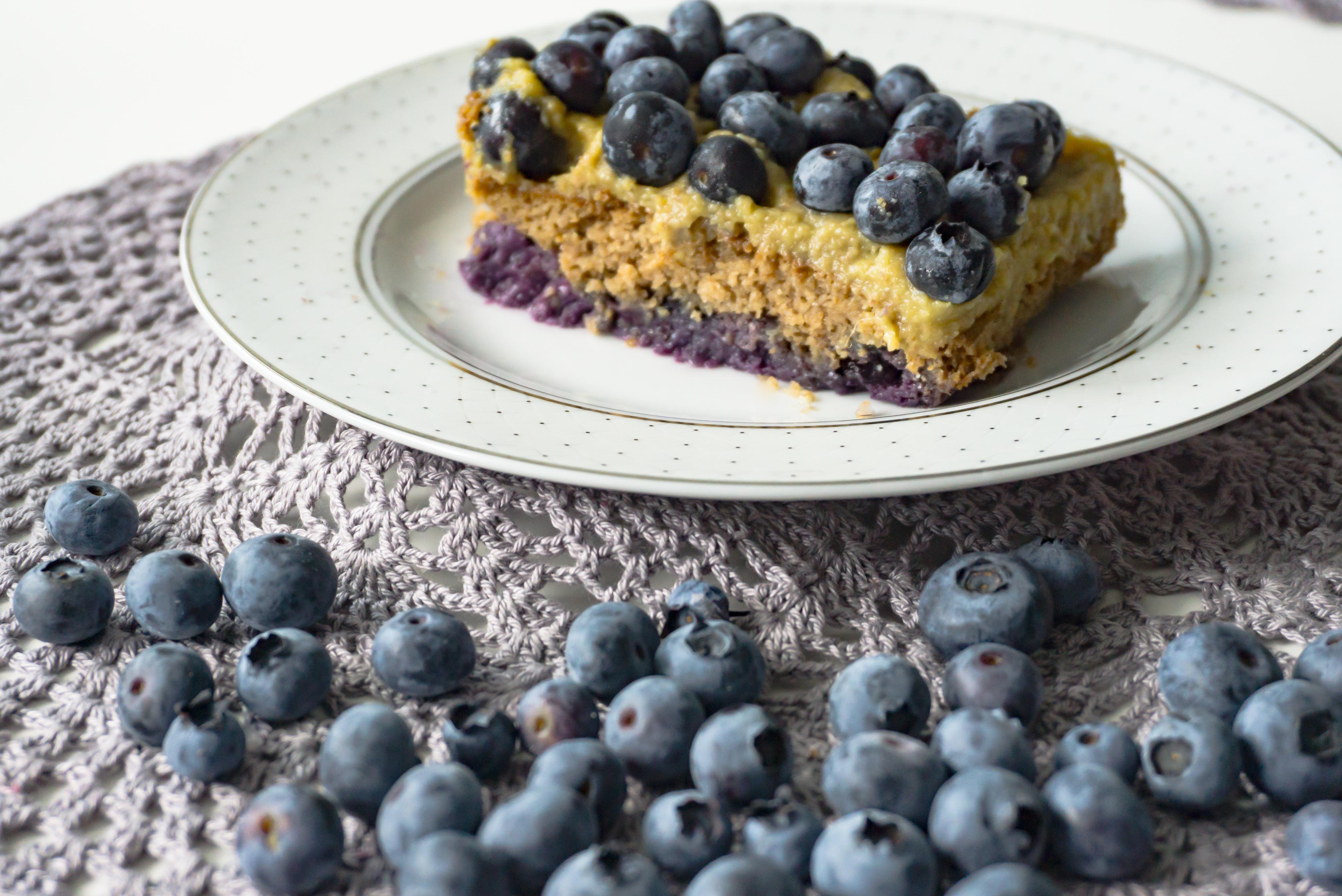 Podwójnie borówkowe ciasto bezglutenowe